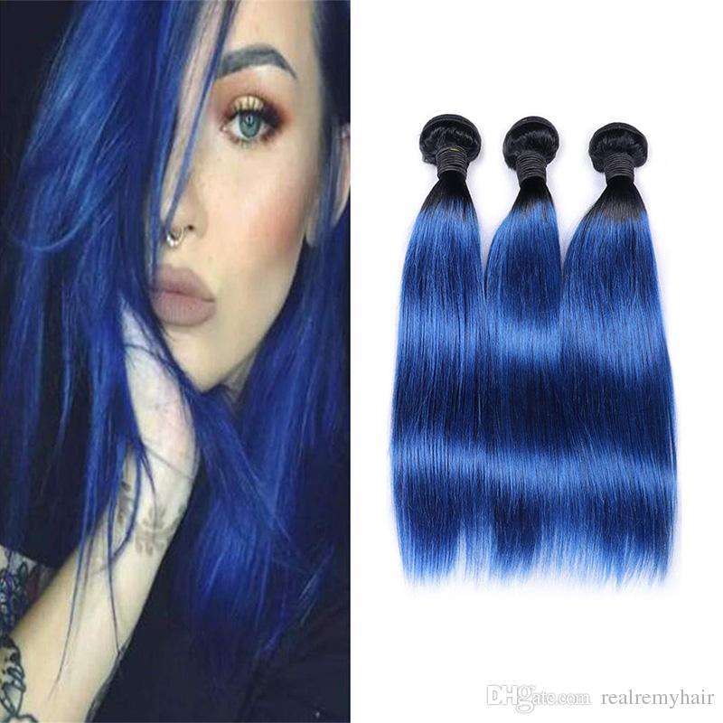 Два тона 1B/синий прямые человеческие волосы ткать 3/4 пучки Оптовая цветные бразильские Ombre Виргинские человеческих волос расширение сделок