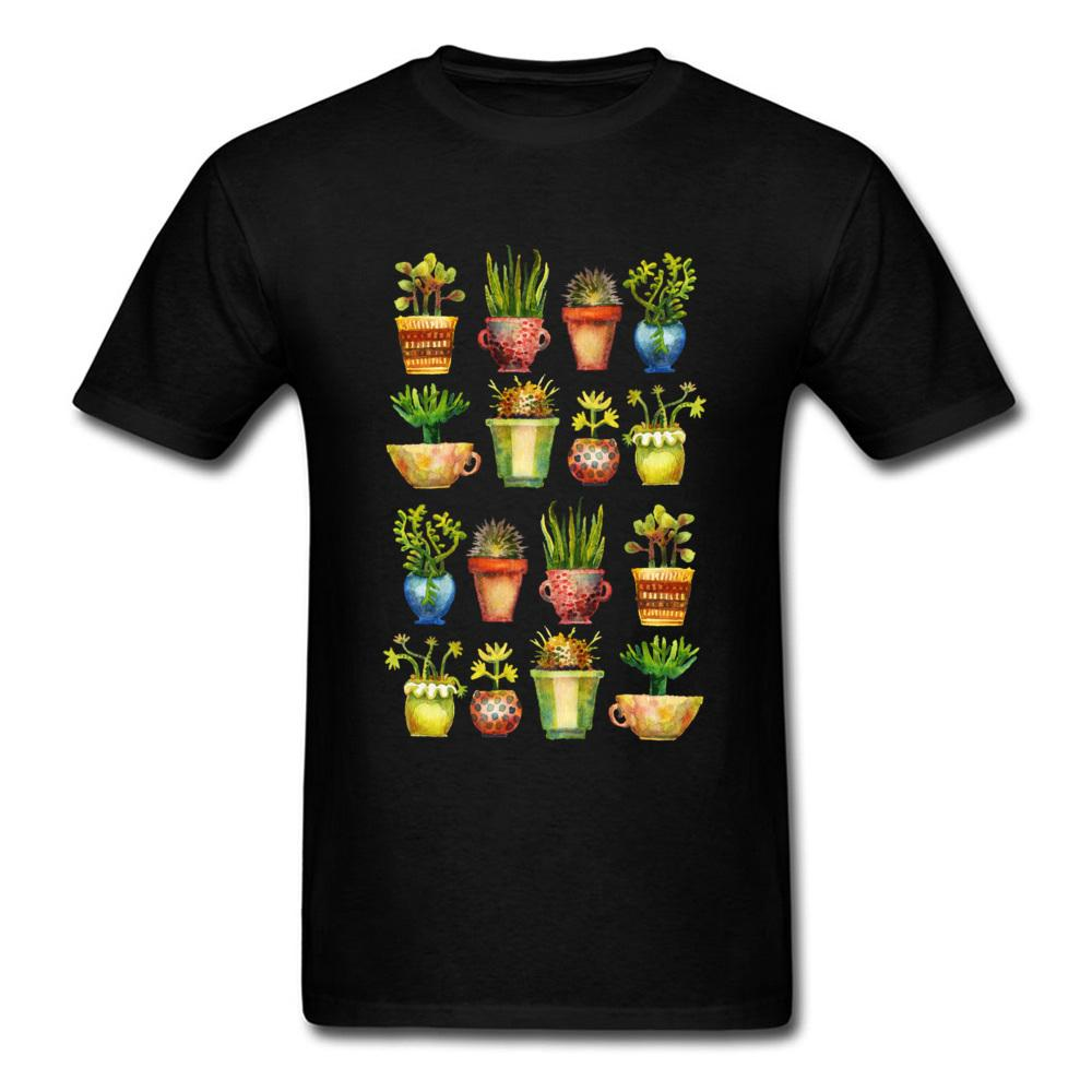 Cactus Tee Potted Plants T-shirt Men T Shirt Succulents All in A Row Tshirt Summer Free Style Top 100% Cotton Clothes Cool Black