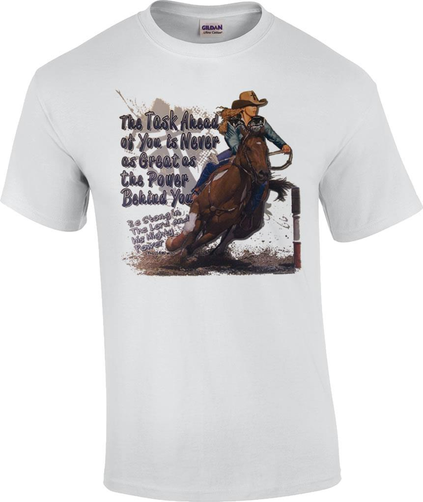 sold worldwide 50-70%off well known Task Ahead Power Behind Barrel Racing Christian Rodeo Cowgirl T Shirt Cheap  Tee Shirts Funny Tees From Amesion99, &Price;| DHgate.Com