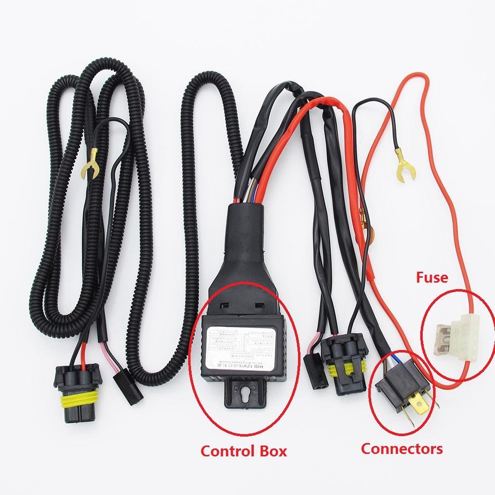 35W//55W H4 HID Hi Lo Bi-Xenon Light Bulb Relay Harness Wiring Controller Cable