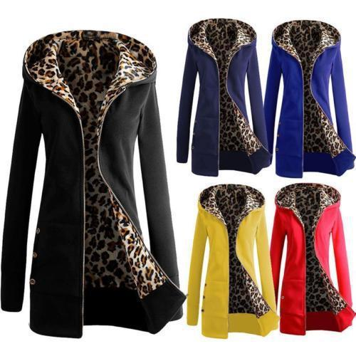 S-6XL Plus Size Womens Long Sleeve Fleece Sweat Zip Hoodie Leopard Casual Coat Jacket Outwear Slim
