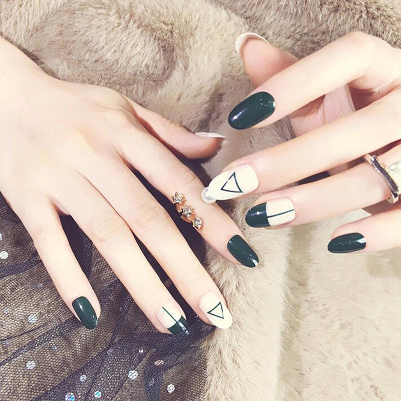 24 pçs / set Mulheres Verde Escuro e Unhas Falsas Dedo Falso ilNa Senhora Unhas Completas Dicas Diy Ferramentas Da Arte Do Prego