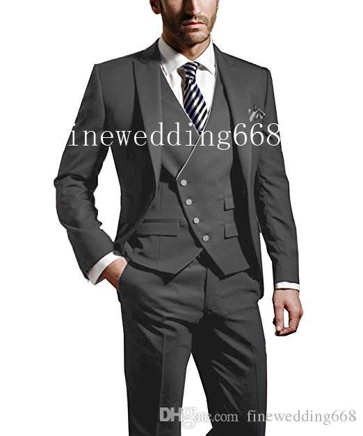 Pas Cher Et Bien Personnalisé Belle Couleur Pic Revers De Mariage Groom Tuxedos Hommes Costumes De Mariage / Bal / Dîner Meilleur Homme Blazer (Veste + Cravate + Gilet + Pantalon)