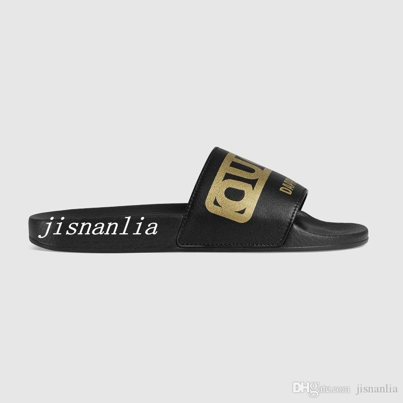 new arrival mens and womens fashion Laminated gold Dapper print black leather slippers slide sandals causal beach flip flops