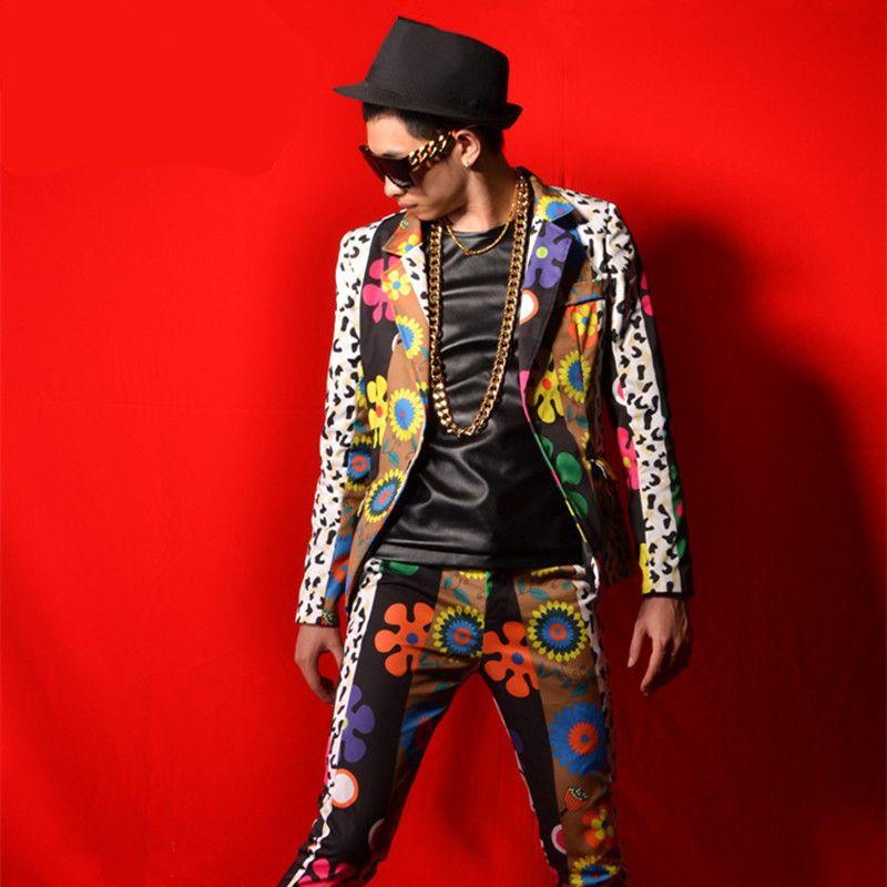 Costumes pour hommes Fleurs Impression Veste Pantalons Ensembles 2 Pièces Marée Chanteur Mâle Discothèque Scène Scène Star Dancer Spectacle Hip Hop Rock Costumes DS