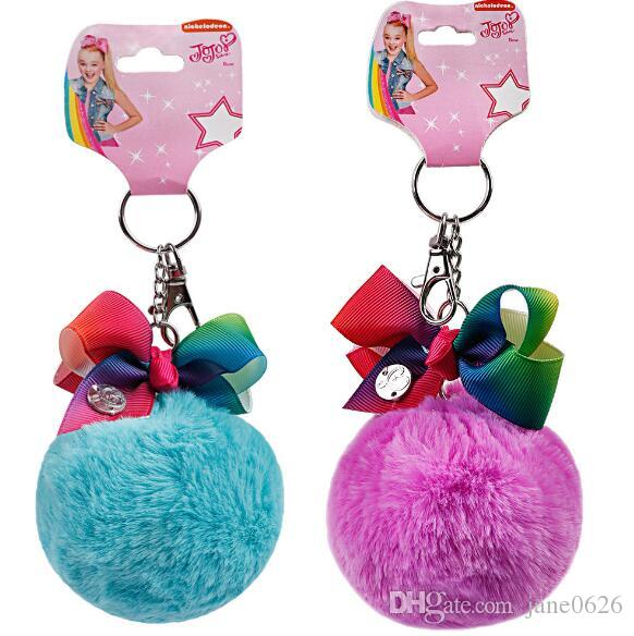 JOJO wool ball children's bow key clip hairpin Pendant 2 styles
