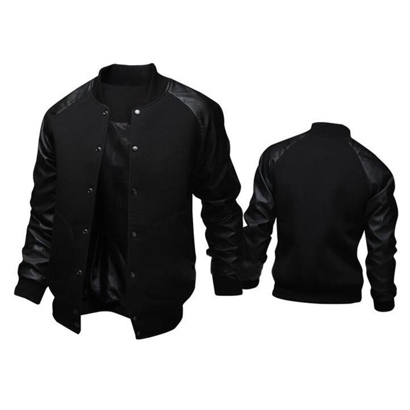 New Trend Black College Baseball Jacket Men/Boy Veste Homme Casual Pu Leather Sleeve Mens Sweatshirt Varsity Jackets For Fall