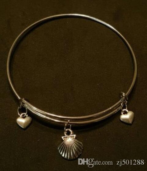 Sirena Shell Stars encanto brazaletes de alambre expansible Vintage plata brazalete brazaletes brazaletes para mujeres joyas regalo accesorios hechos a mano NUEVO 10pcs