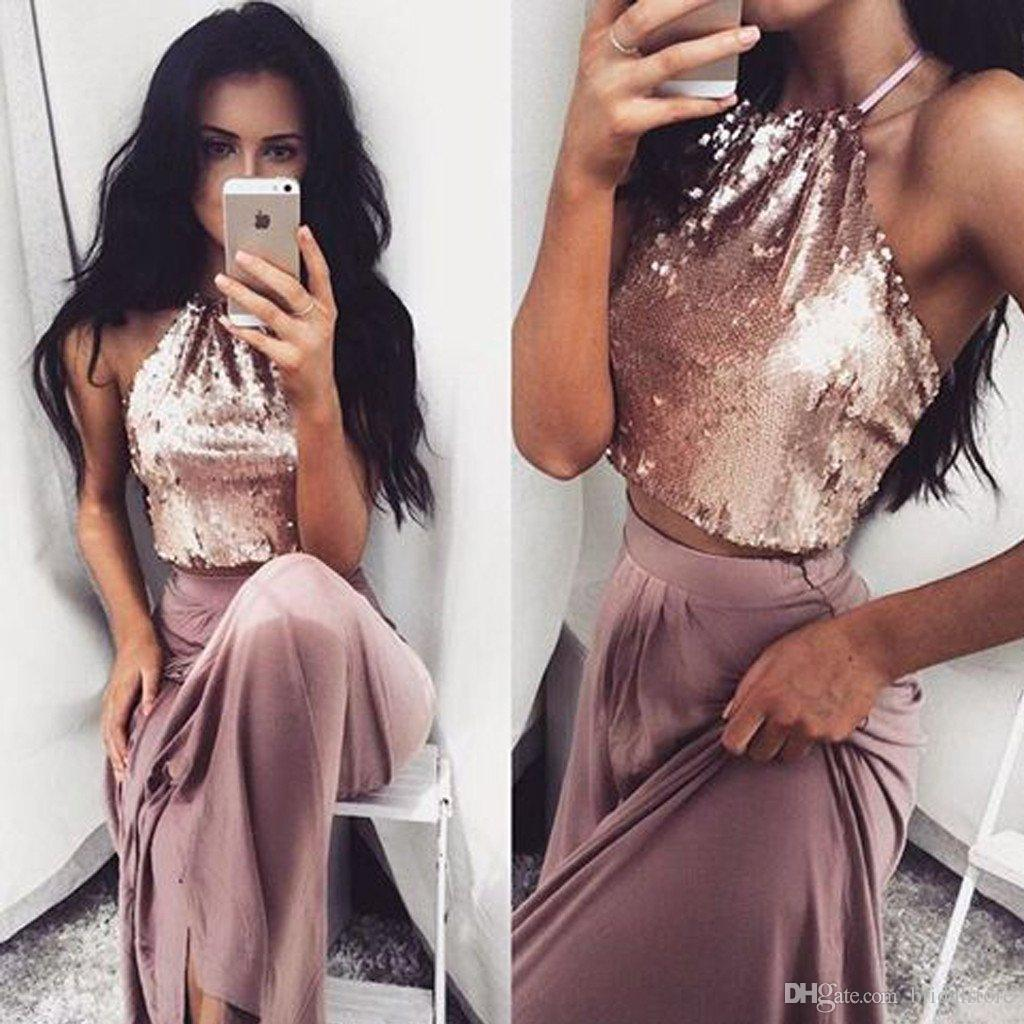 chocolate halter Top sequins prom dresses sparkly bling summer holiday two piece evening party dresses long floor length chiffon for women
