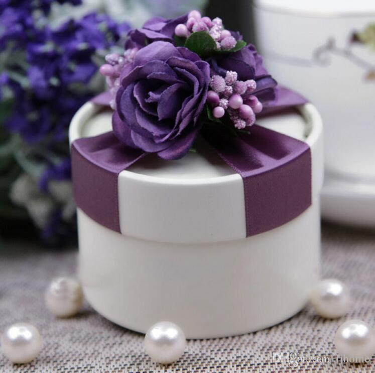 50Pcs Purple Candy boxes Wedding Candy box Party Supplies Gift Wrap Gift Boxes Beautiful Round Box