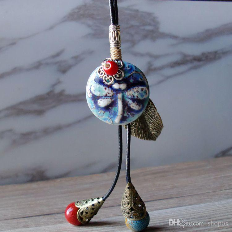 Ceramic Necklace Handmade Retro Folk Fringe Carving Kiln Long Sweater Chain Rope Bead Clothi Pendant Fashion High Grade Women Jewelry 3Color