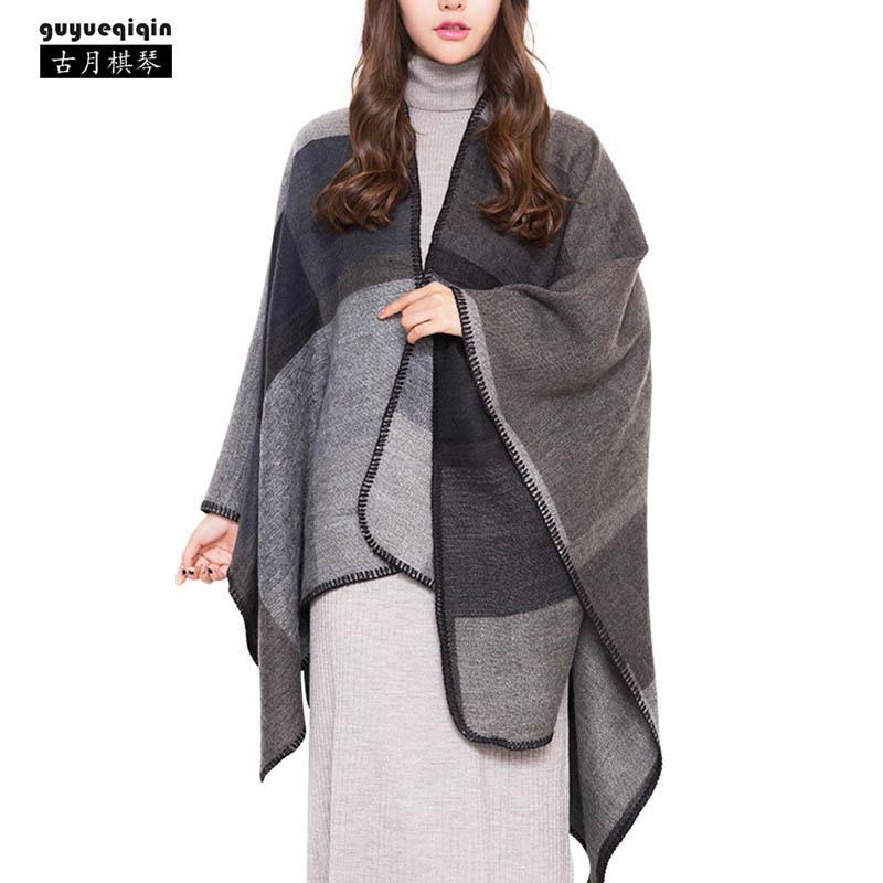 2018 Nuovo Arrivo Splicing Lungo Pashmina Donne Autunno Inverno Caldo 4 Colori Sciarpe Femminili Vintage Poncho Capes Scialle Cardigan