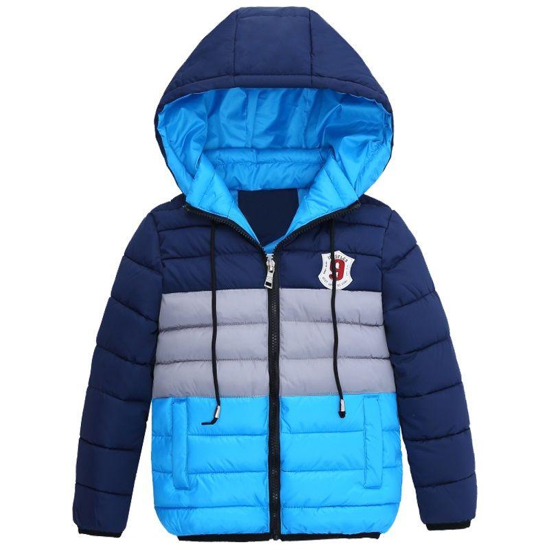 Boys Blue abrigos de invierno de la chaqueta de los niños de la cremallera chaquetas chicos gruesa chaqueta de invierno de alta calidad Boy de invierno los niños ropa de abrigo