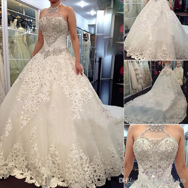 Luxury Wedding Dresses 2019 Hot Sale Halter Rhinestone Beaded Backless with Bow Long Chapel Train Lace Applique Custom Made Bridal Gowns