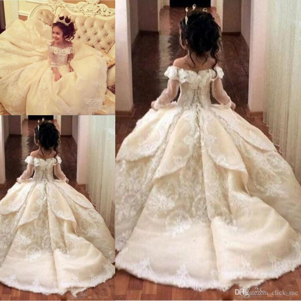 Ball Gown Off Shoulder Flower Girl Dresses For Wedding Lace Applique Long Sleeve Kids Birthday Dress Princes Lace Up Girls Pageant Gowns