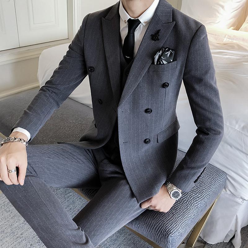 2018 Nova Inglaterra Homens de Negócios de Moda Casual Fino Listra Vertical Ambos Fivela Linha ocidental-estilo Terno de Manga Longa Outwear Homme