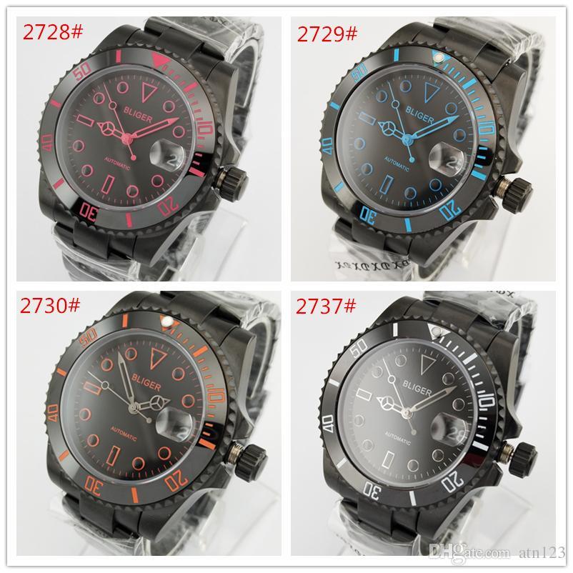 Bliger 40mm quadrante nero lunetta in ceramica vetro zaffiro nero cassa in acciaio inossidabile con datario meccanico automatico orologio da polso da uomo 2728-2737