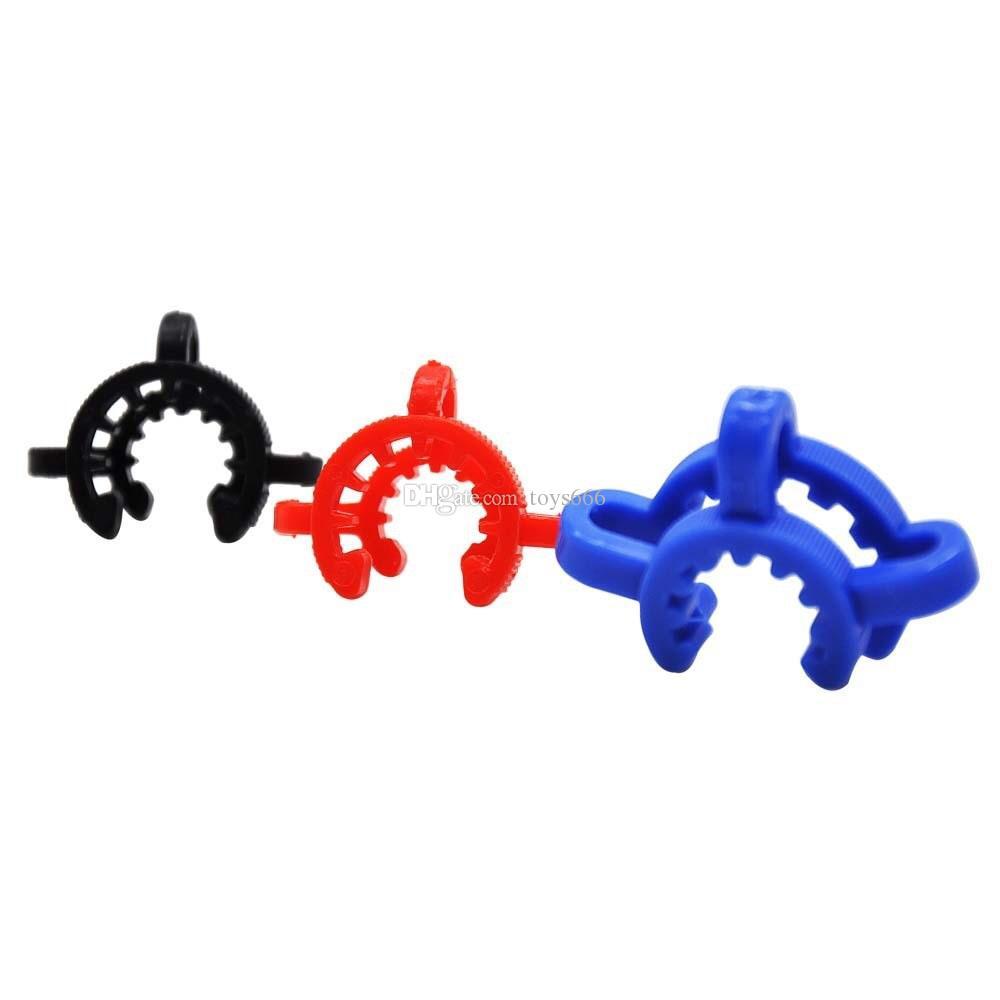 다채로운 10mm 14mm 19mm 플라스틱 켁 클립 실험실 실험실 클램프 클립 플라스틱 잠금 유리 파이프 유리 뚜껑 유리 어댑터 Dab Rig Glass Bong