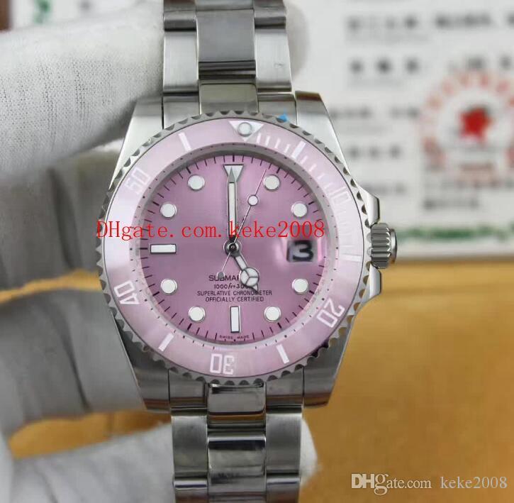 럭셔리 고품질 패션 시계 SUB 116610 40mm 36mm 핑크 다이얼 세라믹 베젤 스테인레스 스틸 자동 기계 여성용 시계 여성용 시계