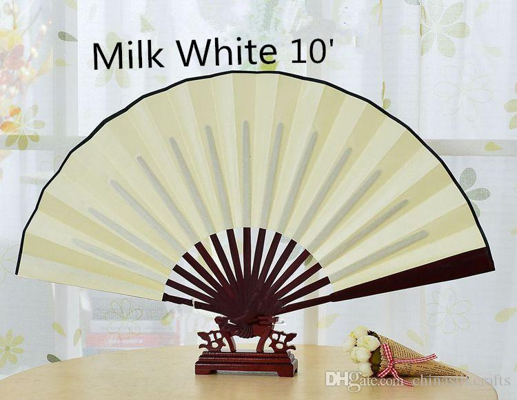 Large White Folding Fans Chinese Silk Fabric Fan DIY Personalised Party Fans Adult Fine Art Painting Program 1pcs