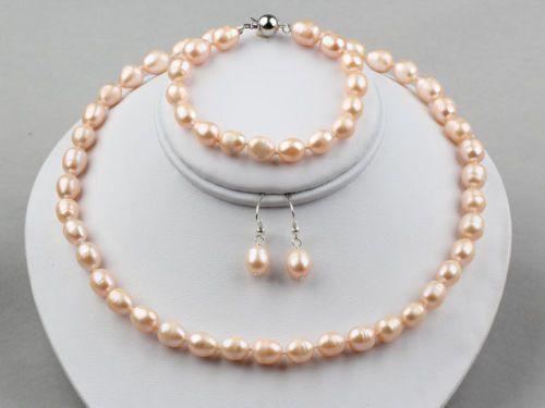 Естественный розовый рис пресной воды жемчужное ожерелье и браслет, серьги набор