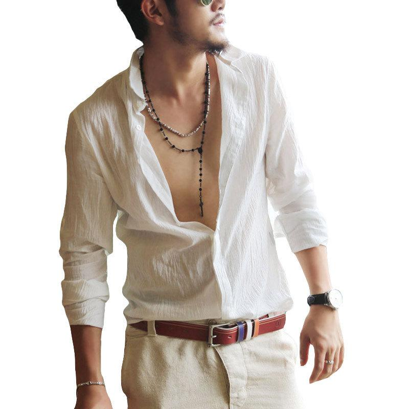 Regular Twill Plus Size Shirts Cotton Linen Men Shirt Long Sleeve Summer Style Hawaiian Shirts Sexy Slim Fit Men Clothes