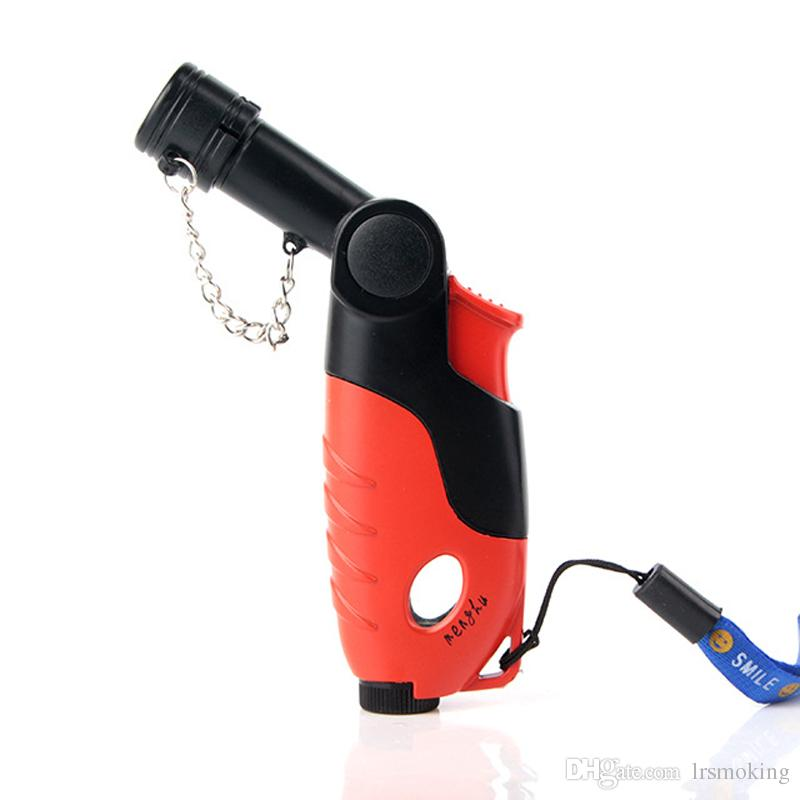 Rotatable Head Single Torch pipe lighters smoking Jet flame Windproof lighter gas visible window Free shipping