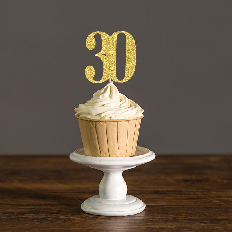 Trenta decorazioni per il compleanno, 30 ° cupcake Torte cibo, anniversario Party Decor Nero e oro, argento Glitter accessorio per torta