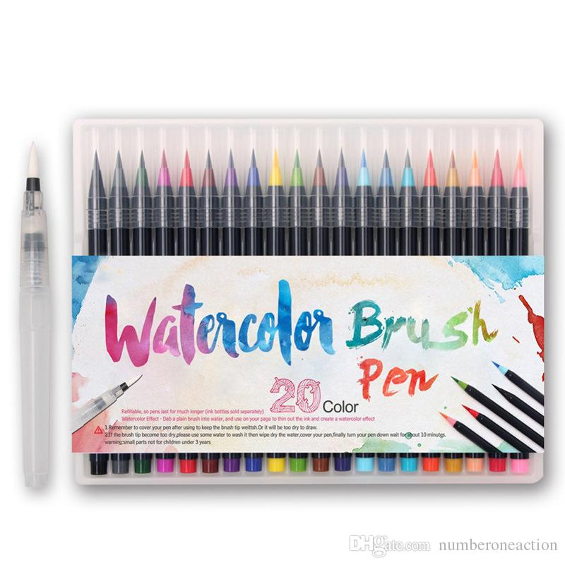 20 색 프리미엄 페인팅 소프트 브러시 펜 세트 수채화 마커 펜 효과 색칠하기 책 베스트 만화 만화 서법