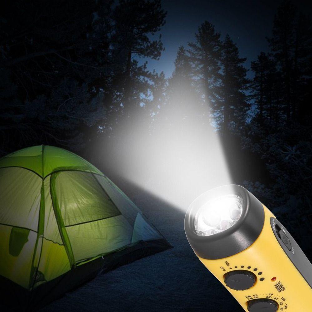 Muitifunctional Dynamo Flashlight Radio Power Bank Emergency Siren + 5 Super Bright LED, USB 5V Charging Yellow/ Green/ White