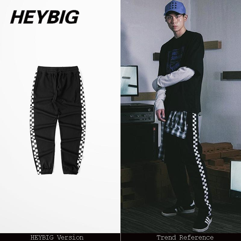 Japanese x American truck pants HIGH STREET fashion men Joggers Asian size!! hip hop trousers 2017 side checker sweatpants