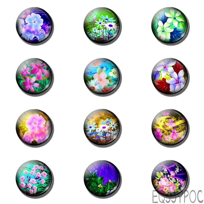 12pcs All Kinds of Flowers 25MM Fridge Magnet Flower Lover Gift Glass Dome Note Holder Magnetic Refrigerator Stickers Home Decor