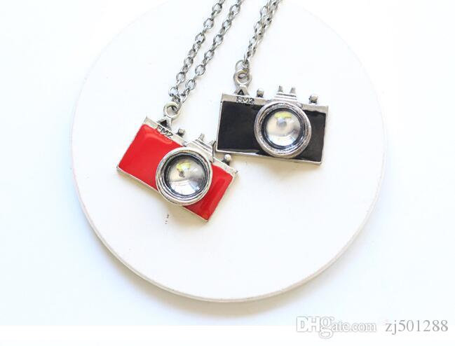 Vintage Silver Enamel camera Pendant Necklaces Charms Statement Choker Necklace Women Fashion Jewelry Christmas Accessories Gifts NEW