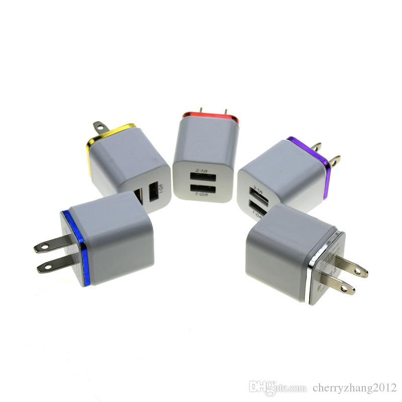 メタルデュアルUSB壁充電充電器US EUプラグ2.1A AC電源アダプタ壁充電器プラグ2ポートのためのサムスンギャラクシーノートLGタブレット
