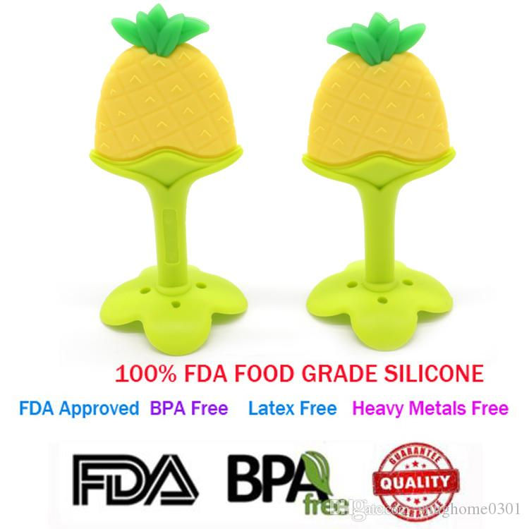 BPA-Free FDA-approved Silicone Baby Teething Toy Cute Pineapple Shaped Teether Toy Best for Sore Gums Pain Relief And Kids With Special Need