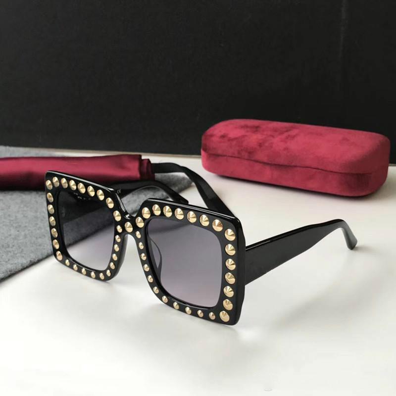 Luksusowe 0197 Okulary przeciwsłoneczne dla kobiet Duża ramka Elegancki specjalny projektant z nitami ramą wbudowany obiektyw cypel Najwyższej jakości