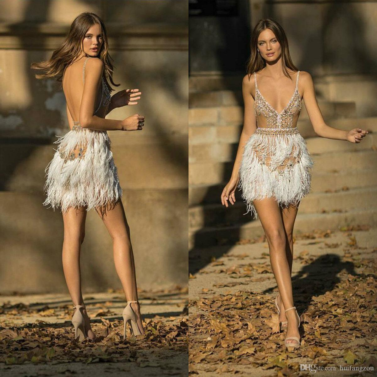 2019 Sexy Short Prom Dresses Berta Illusion Spaghetti Major Beading Crystal Evening Dresses Feathers Design Backless Party Gowns Club Wear