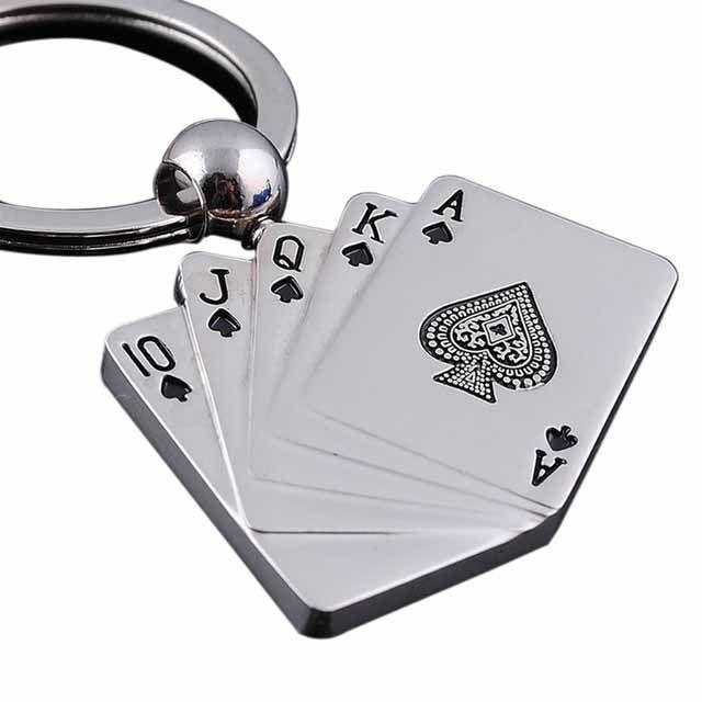New Cool Creative Model Alloy Metal Keychain Poker Keychain Ring Keyfob For Women Men