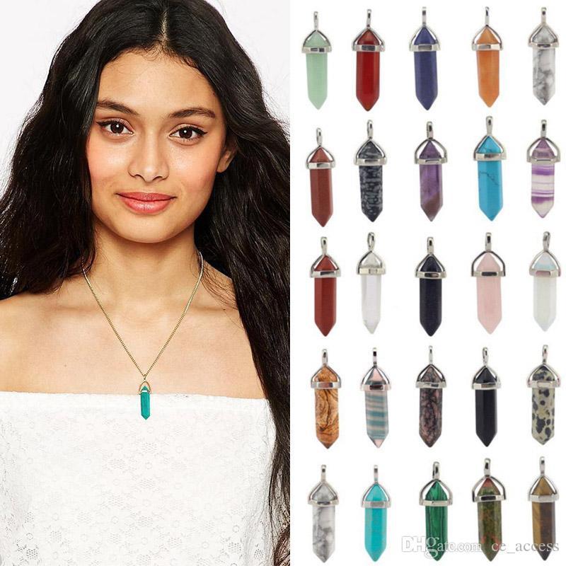 2018 doğal kristal kolye kolye kolye ulusal rüzgar bölümü altıgen sütunlar Ücretsiz DHL Kargo olmadan 35 renk kolye