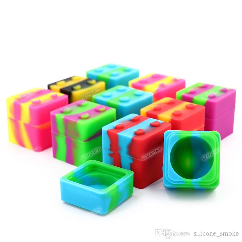 11ML 사각형 디자인 실리콘 컨테이너 왁 스 컨테이너 30mmX30mm 금연 액세서리에 대 한 비 스틱 실리콘 항아리 dabs FDA 실리콘 상자