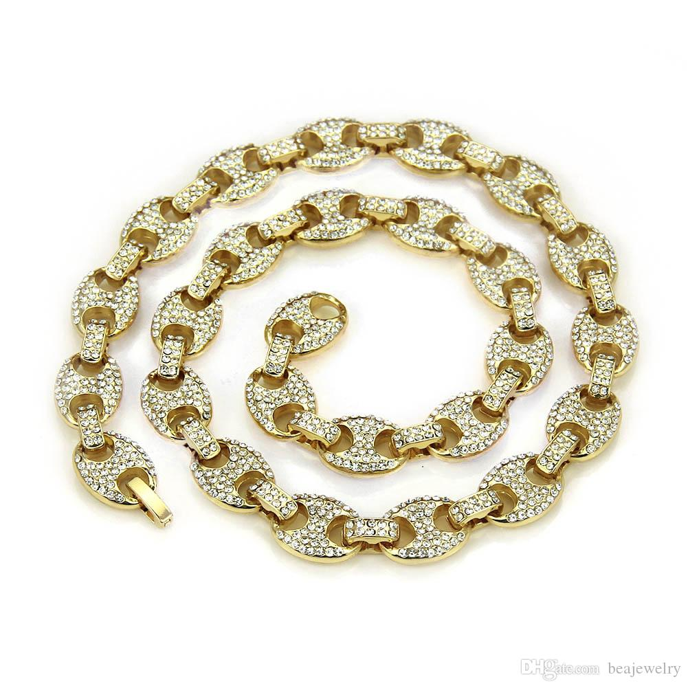 Hip Hop 12mm Gold Silver Color Plated Iced Out Puff Marine Coffee Beads Chain Link Bling Necklace for Men