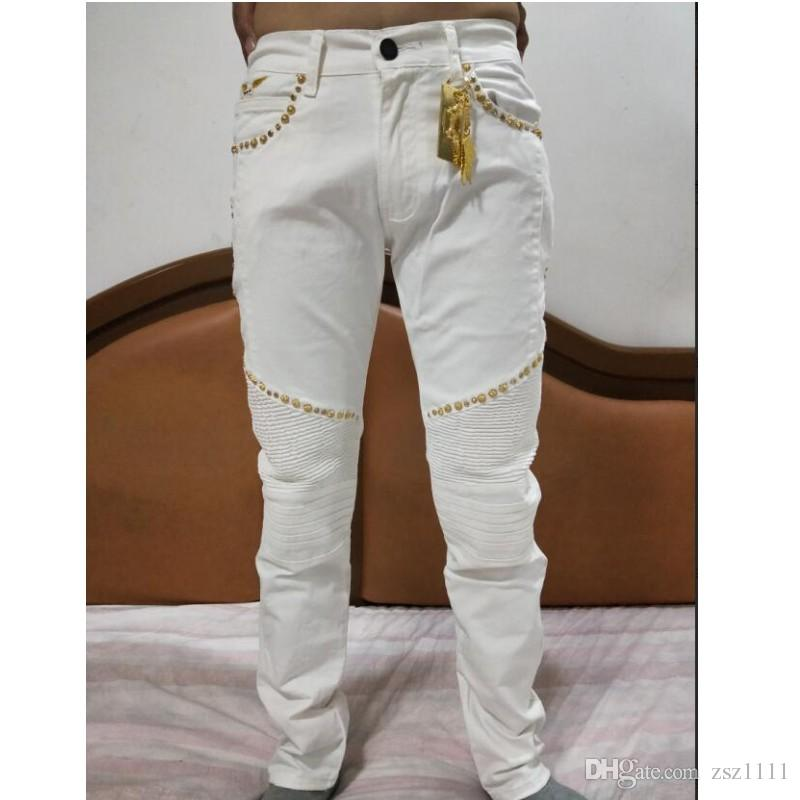 2020 Wholesale Mens Clothing Fashion Senior Designer Brand Bicycle Robin Jeans Manual Paste Crystal Golden Wings White Robin Slim Jeans From Zsz1111 47 33 Dhgate Com
