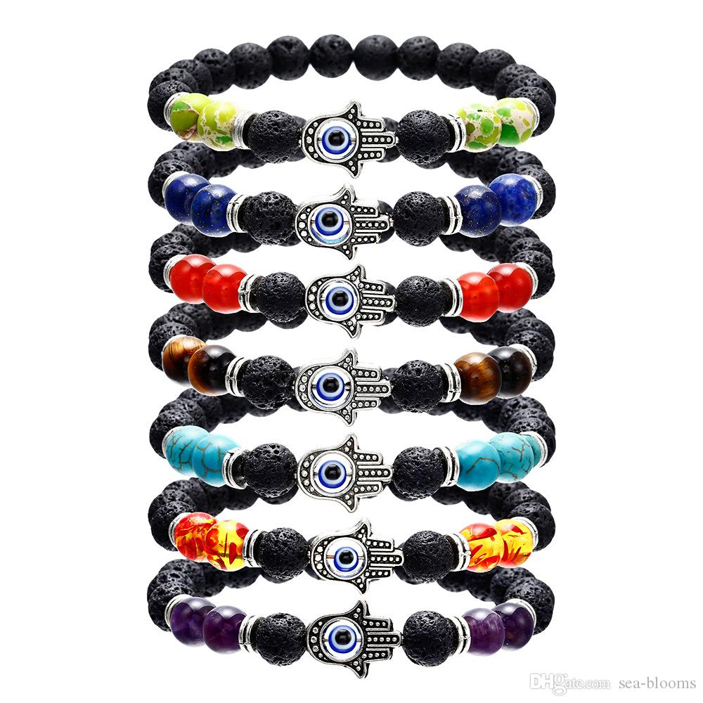 Volcanic Stone 8MM 7Chakra Fatima Hand Evil Eye Bracelet Yoga Beaded Bangle Red Coral Beads Colorful Jewelry For Women Gift Free DHL H685F