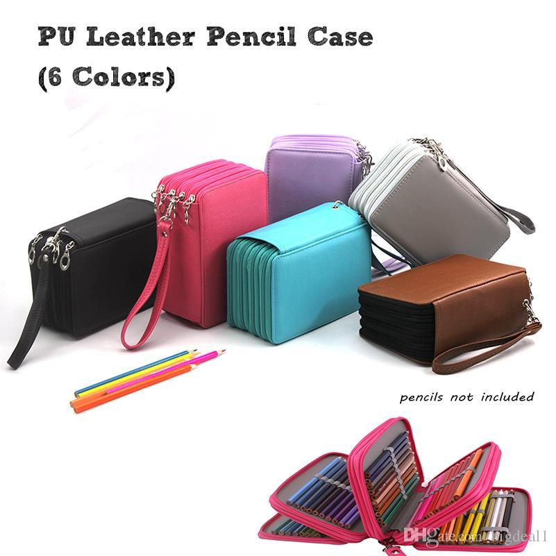 Colored 72 Holders 4 Layers Color Case Large Capacity PU School Pencil Case for School Pencil Bag