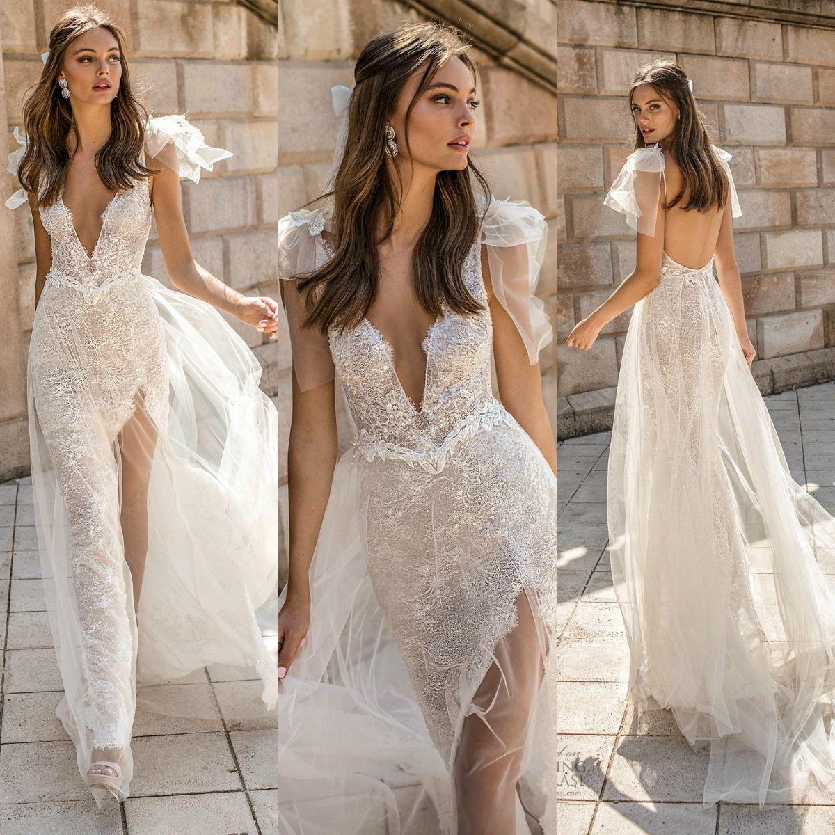 Muse By Berta 2019 Wedding Dresses V Neck Lace Sequins Split Backless Sweep Train Bridal Gowns Plus Size Boho Robe De Mariée