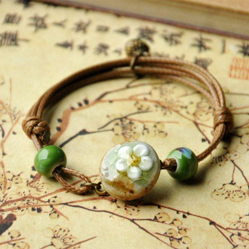 12 Pieces/Lot Flower Charm Bracelects For Women Men Ceramic Green  Cuff Bangles Braid Rope Link Chains Adjustable Wristband