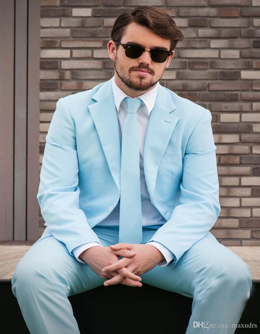 2019 Hot Bespoke Novio Tuxedos Un botón Tres bolsillos Hombres Traje de boda Hombre Casual Color sólido Terno masculino (chaqueta + pantalones)
