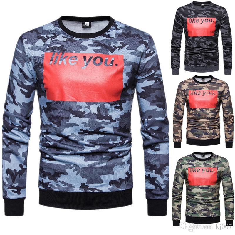 Мода рубашки Мужские Письмо печати камуфляж пуловер свитер хип-хоп спортивные кофты мужчины повседневная рубашки горячие продажи человек одежда уличная