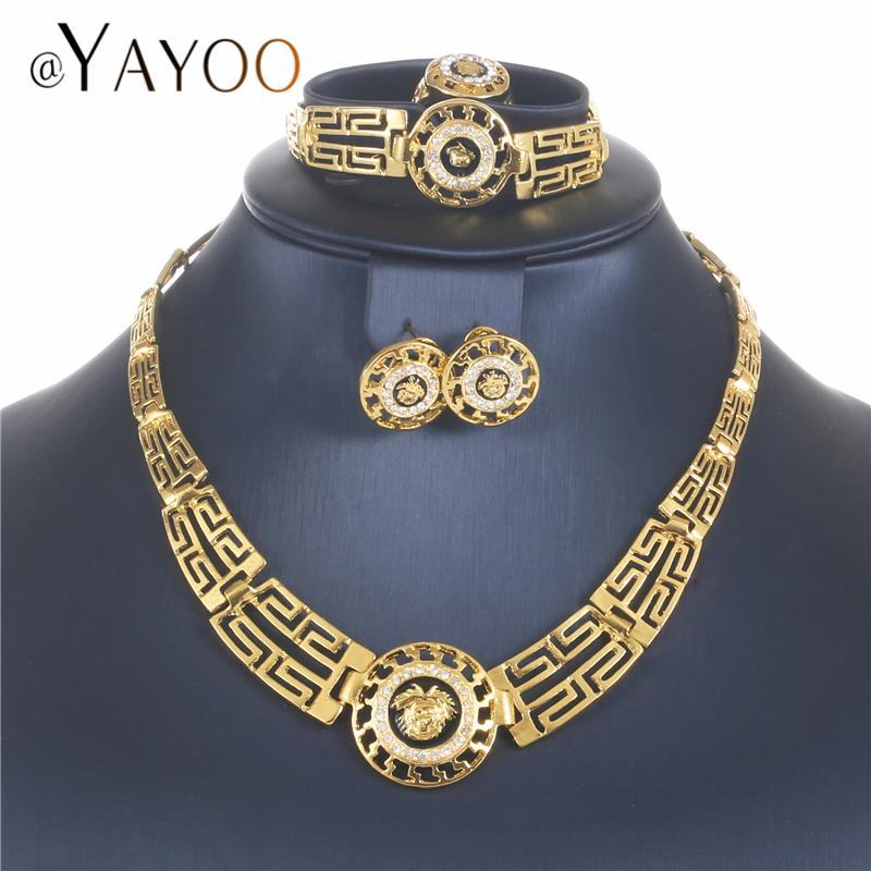AYAYOO African Dubai Jewelry Sets 2018 Nigerian Gold Color Jewellery Sets For Women Wedding Imitation Crystal Necklace Set