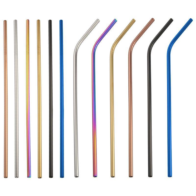 """القش الملونة من الفولاذ المقاوم للصدأ 8.5 """"قابلة لإعادة الاستخدام سترو الشرب لأكواب البهلوان (قطر 6 مم) - أدوات الشاي والقهوة"""